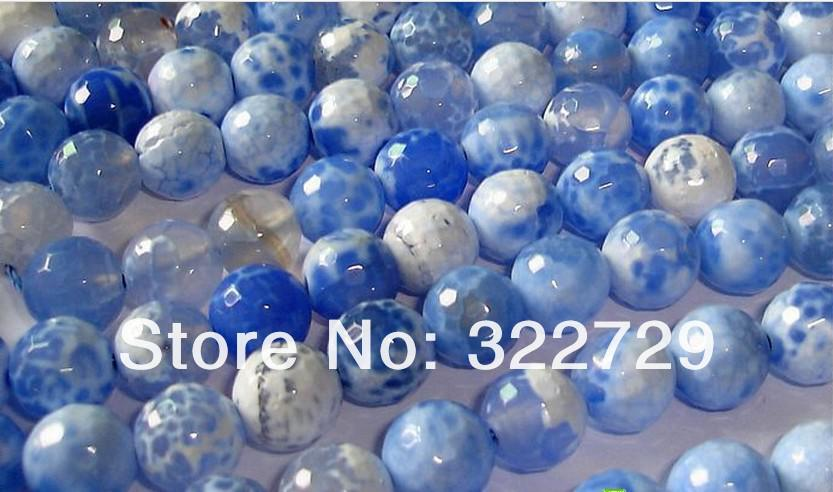Blue Agate Beads,Loose Agate Stone,Faceted Round Shape,Fashion Beads Accessories,Size:6 8 10mm