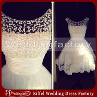 Wholesale Samples Neck Beads - Hot Sale Casual Short Bridal Dresses Real Sample Wedding Dress Ivory Lace Appliques Beaded Sheer Neck Formal Party Gowns Exquisite Pearls
