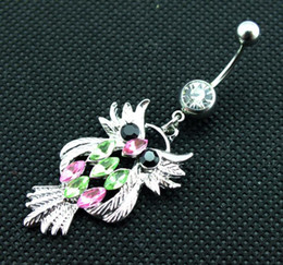 Owl belly buttOn online shopping - D0196 color The owl Belly Button Navel Rings Dangle Accessories Fashion Charm Rabbit CZ