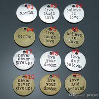 Wholesale Love Live Dream - 20pcs lot 20mm round shape antique silver, bronze plated message charms, live laugh love, live your dream charms, believe in love charms