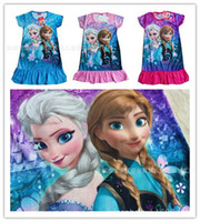 Wholesale Colorful Tutus For Girls - For Children Girls L XL XXL Hot New Fashion Children Girls Dress Princess Anna Elsa Colorful Flouncing Dresses Casual Girl's Dresses