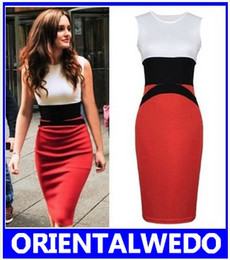 Wholesale Womens Dresses Tea Length - Womens Celebrity Midi Bodycon Ladies Red Pencil Evening Slimming Panel Tea Dress wholesale new+gift scarves free shipping