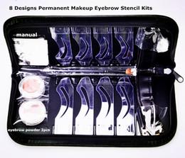 Оптовая -8 конструкций перманентный макияж бровей трафарет наборы многофункциональный тонкий бровей рисунок группа макияж набор татуировки инструмент cheap eyebrow design stencils от Поставщики трафареты для бровей