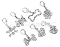 Wholesale Mixed Bling Charms - silver bling crystal pendant charms perfect for pet collars (bone skull  bow flower heart paw), mix is ok