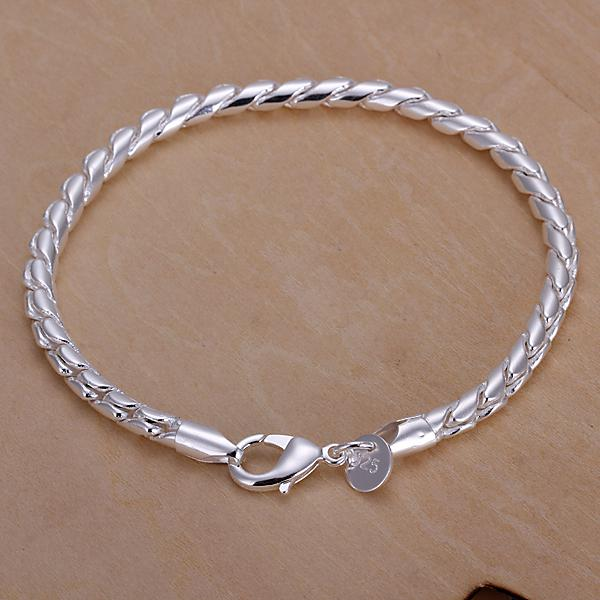Men's Jewelry 925 sterling silver 4mm width Link chains 20cm bracelet bangle H210 gift box/bag