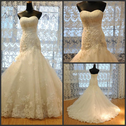 Wholesale Sexy Beaded Straight Wedding Gowns - New Ball Gown Tulle Strapless Straight Neckline Lace Empire Bow Appliqued Beaded Mermaid wedding dresses 2017
