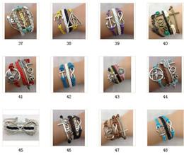 Wholesale Lucky Leaf Branch Bird - 24 pcs Free shipping leather bracelet Silver Infinity Owls Lucky Branch Leaf Lovely Bird Charm bracelets for women Braid bracelet