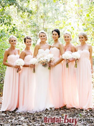 Wholesale Hot Pink Strapless Bridesmaid Dresses - Cheap 2018 Hot Junior Bridesmaid Dresses Ruched Empire Strapless Sweetheart Neck Long Chiffon Fashion Formal Gowns Prom Dress