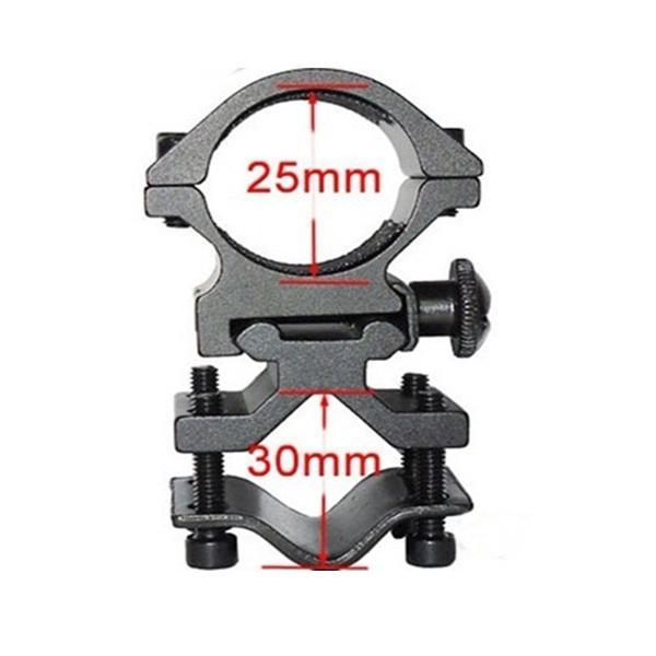 O espaço do anel de 25mm monta o trilho de 20mm para o suporte da tocha do laser da lanterna elétrica