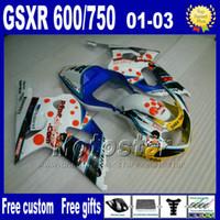 motorhaube für motorräder großhandel-7Geschenke Motorradteile für SUZUKI K1 Verkleidungen 2001-2003 GSX-R600 GSX-R750 01 02 03 GSXR600 / 750 blau weiß Verkleidungssatz Uy86 + Sitzverkleidung