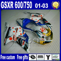 Wholesale Motorcycle Parts For Suzuki - 7gifts motorcycle parts for SUZUKI K1 fairings 2001-2003 GSX-R600 GSX-R750 01 02 03 GSXR600 750 blue white fairing kit Uy86+Seat Cowl