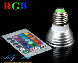 Wholesale Stage Light Lamps - 5W RGB LED Spotlight Bulb Lamp E27 E14 GU10 mr16 Colors Changing Led Stage Lights with Remote Controller Free Shipping