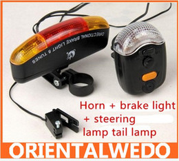 Wholesale Horns Lights - freeshipping Bicycle Turn Signal Brake LED bike Light with Horn free shipping
