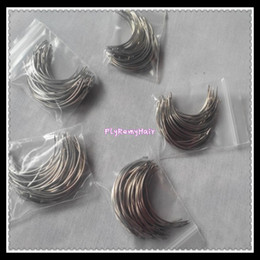 Wholesale Hair Weave C - 50units 60mm C type weaving needles with 1 Roll Black Thread of Weaving   High Intensity Polyamide Nylon Thread   Hair Extension Tools