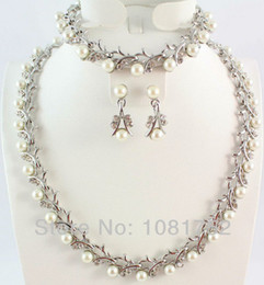 Wholesale Classic Turquoise Necklaces - Free Shipping Classic Imitation Pearl Necklace Set Silver Plated Clear Crystal Bridal Jewelry Sets Party Birthday Gifts