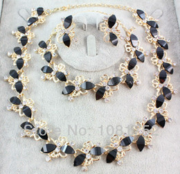 Wholesale Collars Steel China - Free Shipping New Arrival Jewelry Set Gold Plate Black Resin Beads Choker Collar Party Jewelry Set