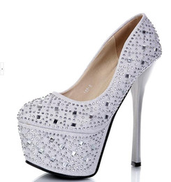 16cm sexy platform high heels 2019 - New dreamy diamond silver platform stiletto heels 16cm luxury sexy wedding high heel pump shoes prom dress EU34 ePacket