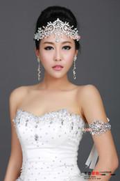 Canada Ensemble de bijoux de mariage en argent plaqué cristal couronne frontlet strass 2014 Offre
