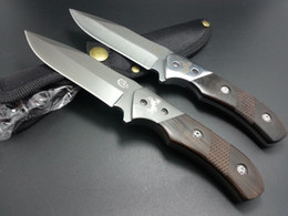 Wholesale Ebony Wood Knife - 2014 NEW COLT Straight knife 8CR13Mov Blade 58HRC Ebony Handle Outdoor camping hiking hunting survival knife tactical knife knives