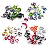 Wholesale Acrylic Spiral Ear Plugs - Wholesale - 10 pcs Acrylic Spiral Gauge Ear Plug Fake Cheater Stretcher Flesh Earring Piercing[BA32 BA33 BA34 BA35*10]