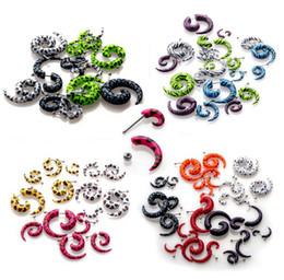 Wholesale Piercing Spirals - Wholesale - 10 pcs Acrylic Spiral Gauge Ear Plug Fake Cheater Stretcher Flesh Earring Piercing[BA32 BA33 BA34 BA35*10]