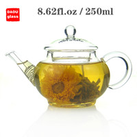 Wholesale Pyrex Glass Tea Pot - 8.62 fl.oz 250ml Heat-Resisting Clear Pyrex Glass Teapot Coffee Tea Pot Set Juice Kettle with handle and Lid