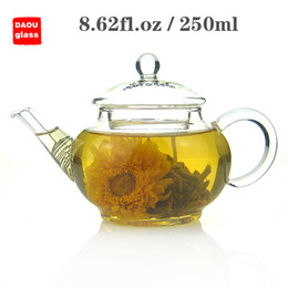 Wholesale kettle teapot set - 8.62 fl.oz 250ml Heat-Resisting Clear Pyrex Small mini Glass Teapot Coffee Tea Pot Set flower tea Kettle with handle and Lid