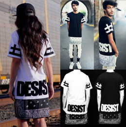 Wholesale Long T Shorts - Hot Unisex Hip Hop Tee Bandana T shirt CEASE DESIST Cool Fashion Punk Tops Tee Bohemian Floral with Zipper 0421