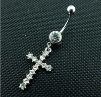 Wholesale Belly Cross - D0192 The cross style 018-01 Belly Button Navel Rings with clear stones body piercing jewelry free shipping
