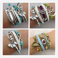 Wholesale Ballet Dancer Bracelet - cross believe Ballet Dancer infinity bracelets cuff bangle Charm Bracelet in velvet Cords and Leather Braid bracelets jewelry hy1103