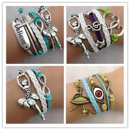 $enCountryForm.capitalKeyWord NZ - cross believe Ballet Dancer infinity bracelets cuff bangle Charm Bracelet in velvet Cords and Leather Braid bracelets jewelry hy1103