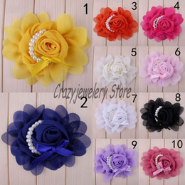 Wholesale Chiffon Flowers Pearl Diy - Chiffon Pearl Rose Flowers Fabric Pearl Flower For Baby Headbands Hairpin Corsage Flower Hair Accessories DIY Girl Photography props 10color