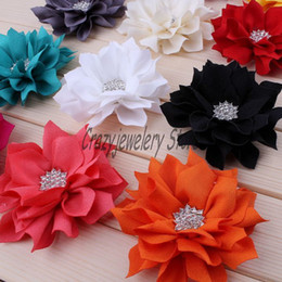 Wholesale Diamond Hairpins - 100pcs Pointed Lotus Flowers With Drill Fabric Diamond Cloth Flower For Headbands Hairpin Corsage Flower Hair Accessories DIY Girl Headwear