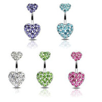 Wholesale Piercing Navel Gold - D0204 The double heart with piercing jewelry stones belly ring navel ring Belly Button Navel Rings with mix colors