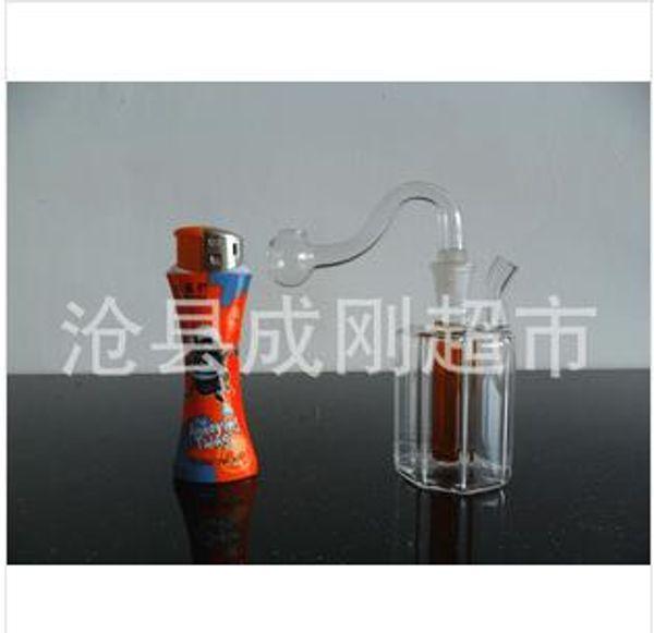 Wholesale Freies Verschiffen achteckigen Glas Shisha kleine gerade Rohr Glas Filterkanne