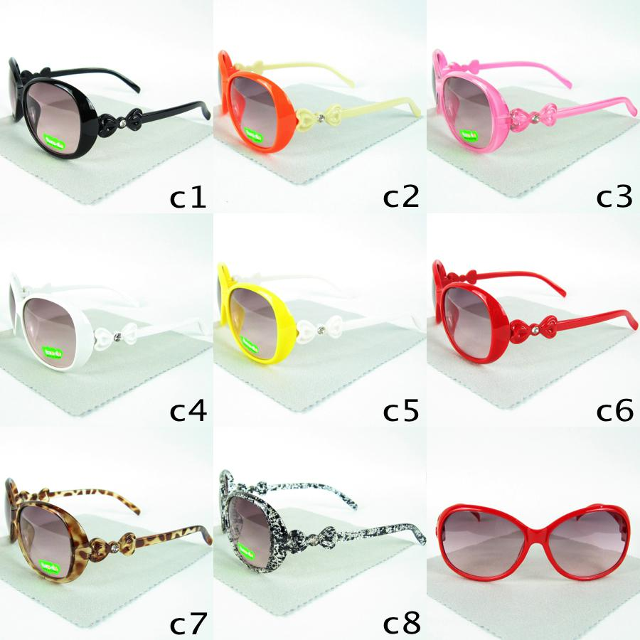 Hot Sale Kids Sunglasses Goggles Bowknot Legs Boys Girls Eyewear UVA UVB Protection Fashion Baby Glasses Candy Colors LT1213