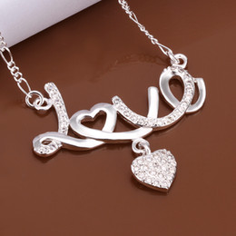 Fashion party jewelry 925 silver plated rhinestone crystal heart pendant necklace LOVE wedding gift for women free shipping 10pcs lot