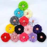 alfinete de botão venda por atacado-New Chiffon Flores Com Botão Starburst Tecido Broca Flor Para Headbands Hairpin Flores Acessórios Para o Cabelo DIY Baby Girl Headwear 100 pcs