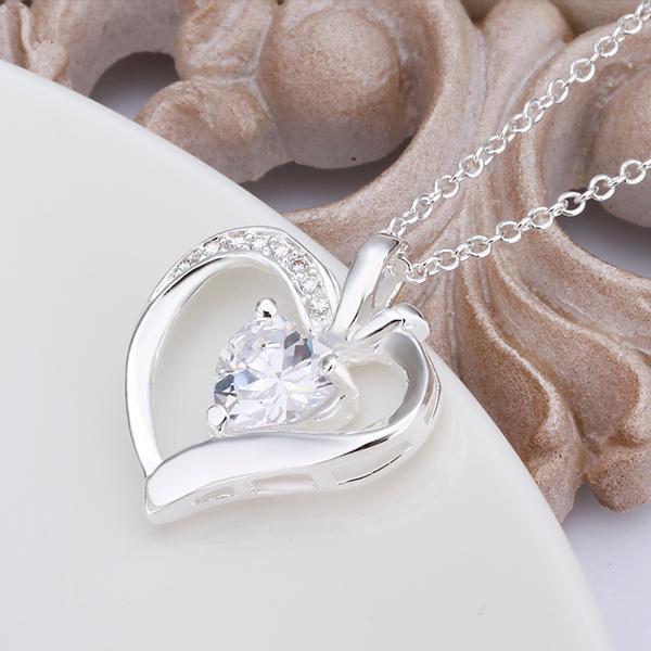 Regali di nozze placcati argento dei monili di modo della collana del pendente del cuore di zircon 925 le donne Trasporto libero superiore /