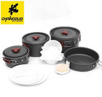 Wholesale camping cooking tools resale online - Outdoor Camping Hiking Cookware Backpacking Cooking Picnic Bowl Pot Pan Set