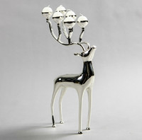 Wholesale Silver Candle Stick Holders - Silver plated deer shape metal candle holder, 6-arms candelabra with 6pcs free candles, decorative candle stick