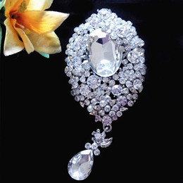 dangle brooch NZ - New!!B731 Silver Plated Sparkle Crystal Huge Waterdrop Pendent Wedding Brooch Hot Selling Luxury Large Crystal Dangle Exquisite Lady Brooch