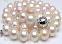 Wholesale white akoya cultured pearl necklace - Natural AAA 8-9MM White Akoya Cultured Pearls Necklace 18inches 925 silver