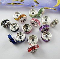 Wholesale spacer 8mm - Hot ! 500pcs Mixed color Crystal Rondelle Wavy Spacer Bead 8mm (z128)