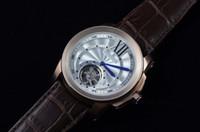 schweizer weißgold großhandel-Luxus Rose Gold Schweizer Marke Mens Sport Armbanduhren Mode Kaliber Weißes Zifferblatt Echtes Leder Männer Automatische Mechanische Tourbillon Uhr