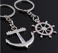 llavero de anclaje al por mayor-Rudder And Anchors Chain Lovebirds Charm Llavero llaveros