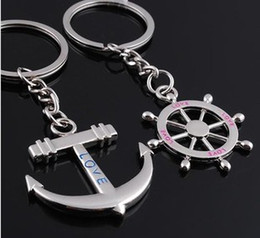 Llavero de anclaje online-Rudder And Anchors Chain Lovebirds Charm Llavero llaveros