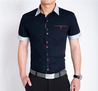 Wholesale Double Button Shirts - Free shipping Mens shirts 100% cotton double color Button Shirts Slim Was Thin short sleeve Shirts