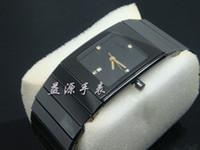 siyah kare saatler toptan satış-Ünlü Marka İsviçre Lüks Erkekler Antik Qaurtz Erkek Saatler Moda Kare Siyah Seramik Watch Band Tarihi Rahat Erkek Elbise Saatı Spor