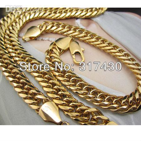 Commercio all'ingrosso - 18k Yellow gold fillednecklace Bracelet Set 108g Euro catena di curvatura 9mm prezzo basso GF jewelry set spedizione gratuita mens o womens